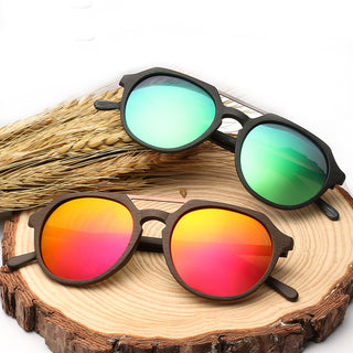 Acetate Round Wooden Pilot Polarized Sunglasses