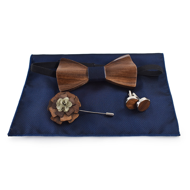 3D Wooden Bow Tie, Brooch and Cuff links Set