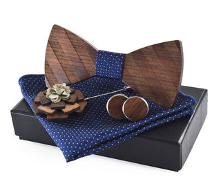 Blue Pocket Square, Brooch, Cuff link and Wooden Bow Tie Set