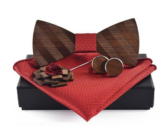 Pocket Square, Brooch, Cuff link and Wooden Bow Tie Set Red