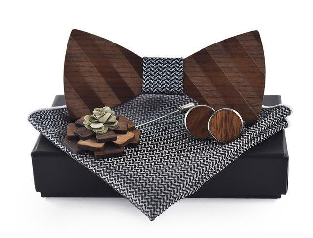 Black Pocket Square, Brooch, Cuff link and Wooden Bow Tie Set