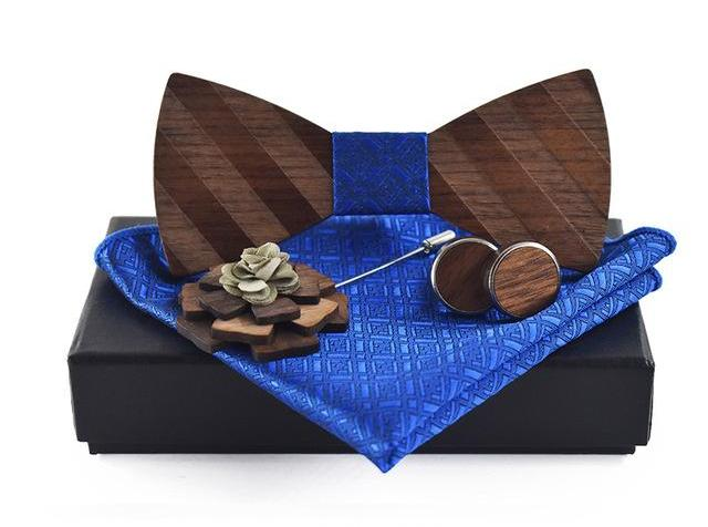 Pocket Square, Brooch, Cuff link and Wooden Bow Tie Set blue