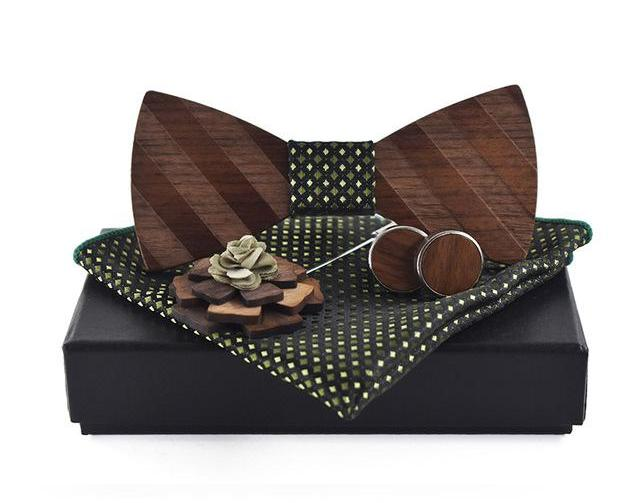 Green Pocket Square, Brooch, Cuff link and Wooden Bow Tie Set