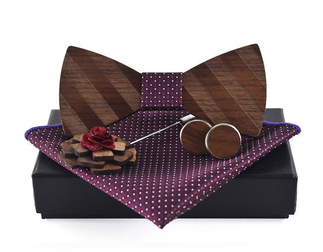 Purple Pocket Square, Brooch, Cuff link and Wooden Bow Tie Set