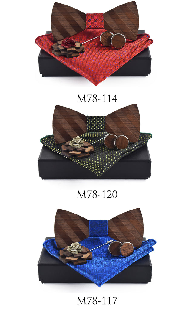 Pocket Square, Brooch, Cuff link and Wooden Bow Tie Set