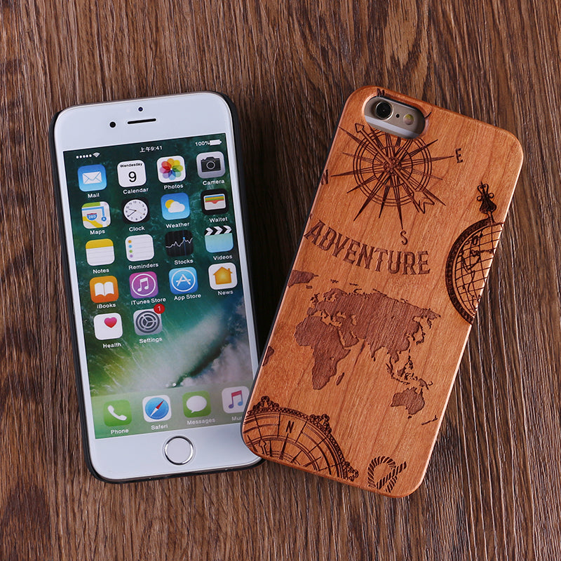 World Map Wood Samsung & iPhone Case Protective Phone Case