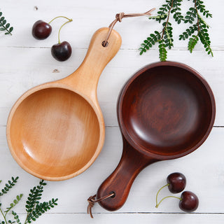 Long Handle Waved Wooden Dinner Bowl