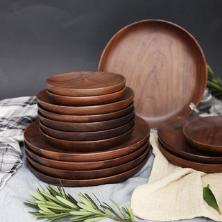 Walnut Wood Round Dinner Plates