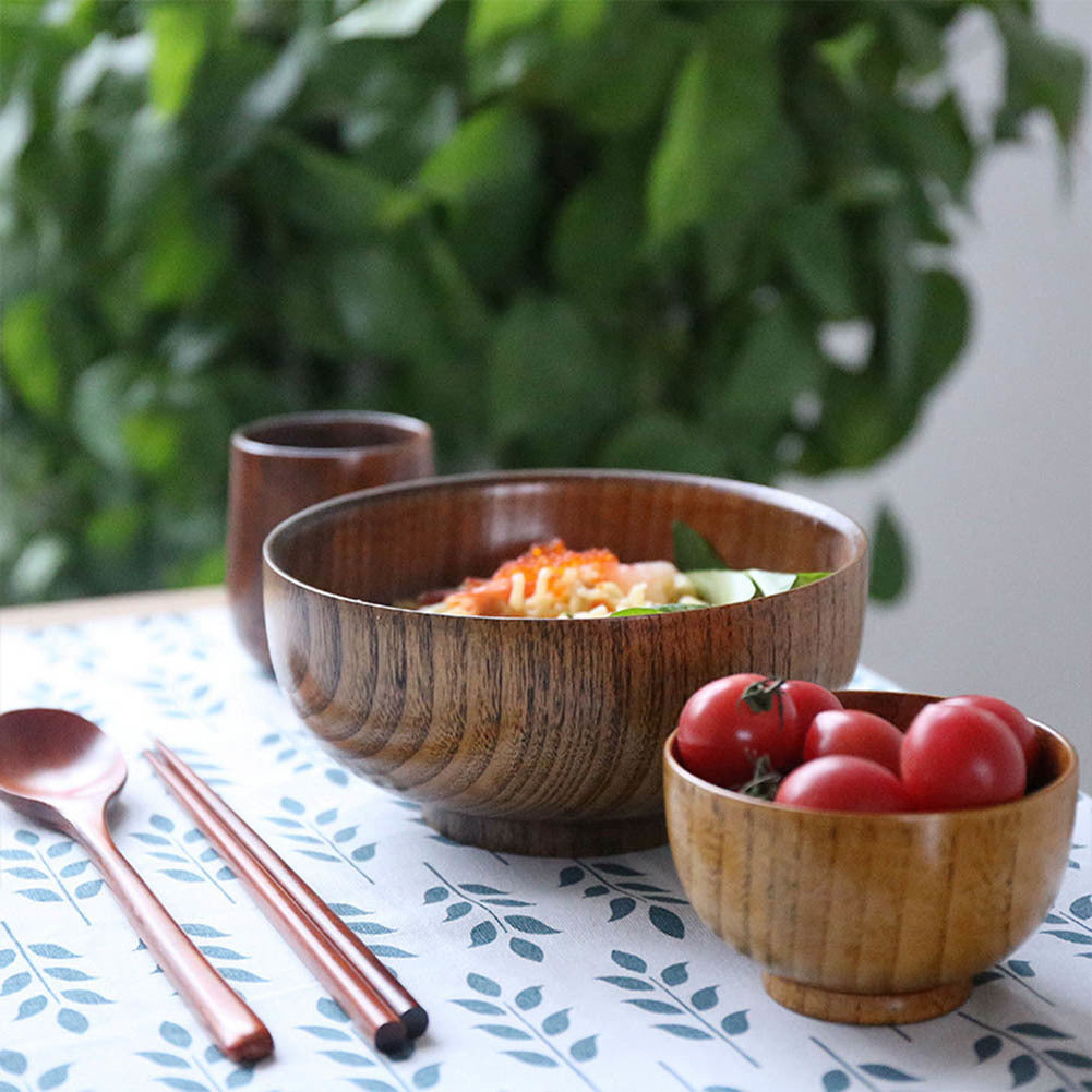 Natural Jujube Wood Round Dinner Bowl