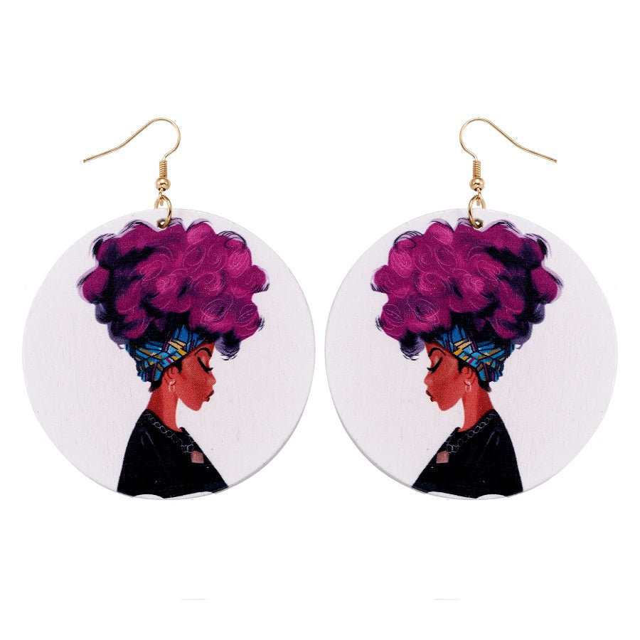BGM Natural Women Wooden Earrings - Black Girl Magic Earrings