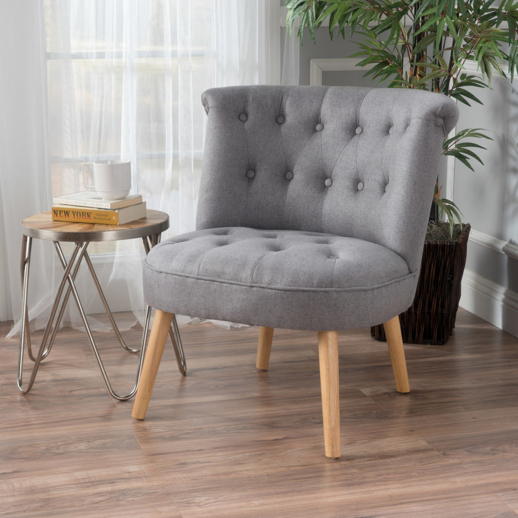 Grey Modern Plush Tufted Accent Chair
