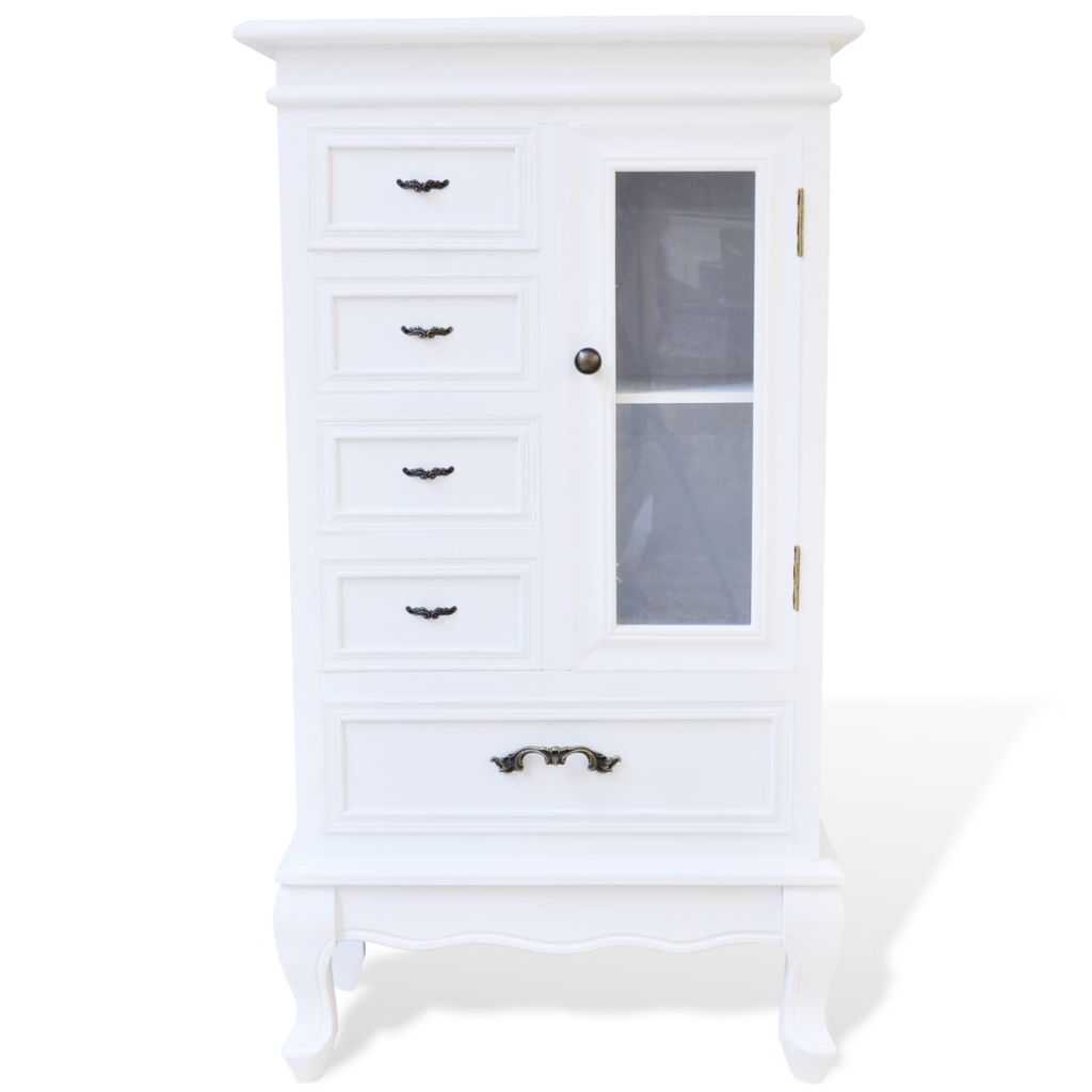 White Cabinet with 5 Drawers 2 Shelves