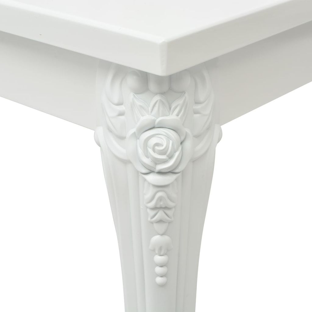 French High Gloss White Square Dining Table