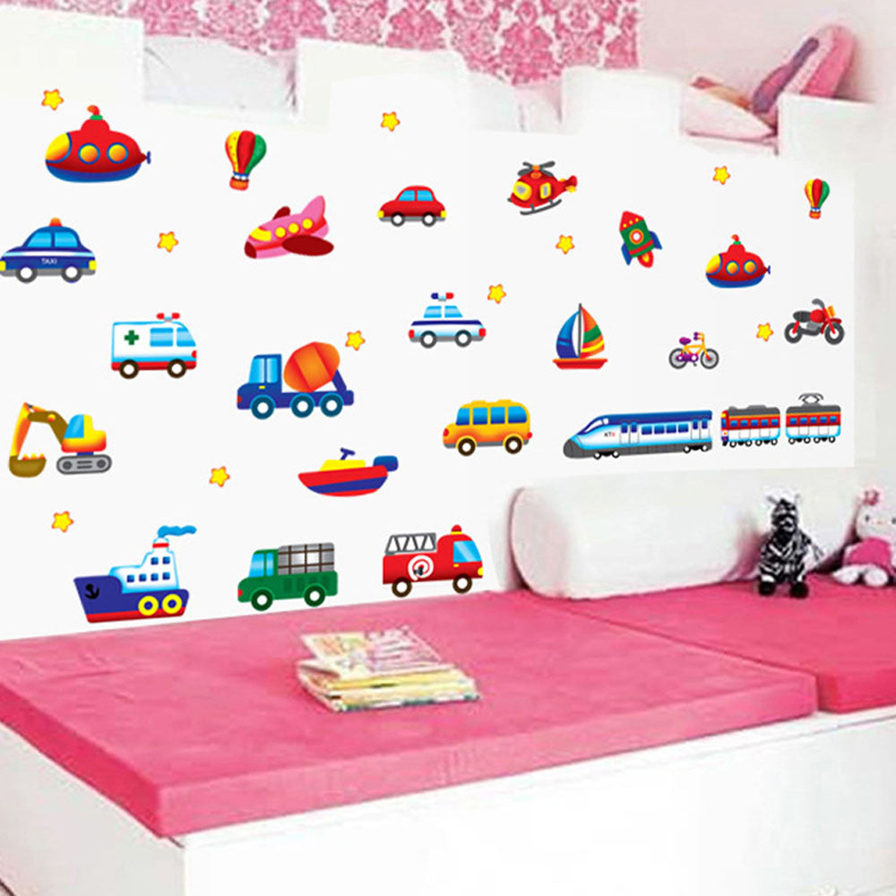 Cartoon Cars, Planes and Boats Vinyl Wall Decal Stickers
