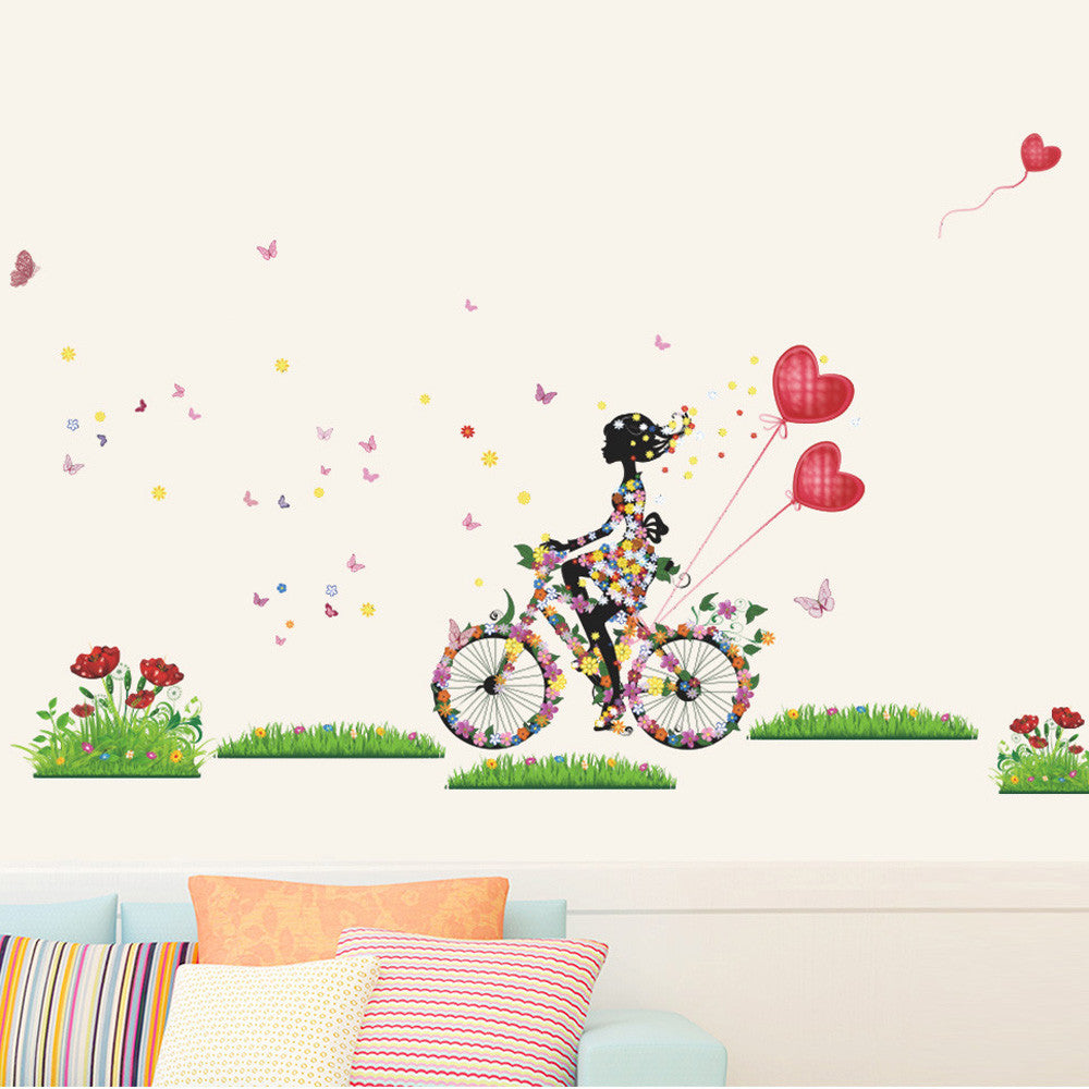 Fairy Girl Bike Ride Vinyl Wall Decal Stickers