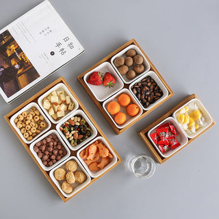 Bamboo Storage Trays with Ceramic Snack Dish Plates