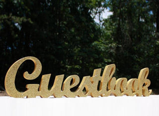 "5"" Gold or Silver Glitter Guestbook Wedding Sign Decor"