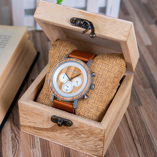 Stainless Steel Chronograph Wood Grain Watch