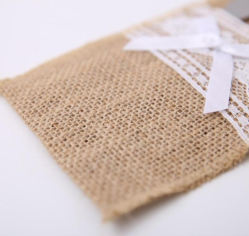 30pcs/set Jute Burlap Lace Tableware Pouch Pocket