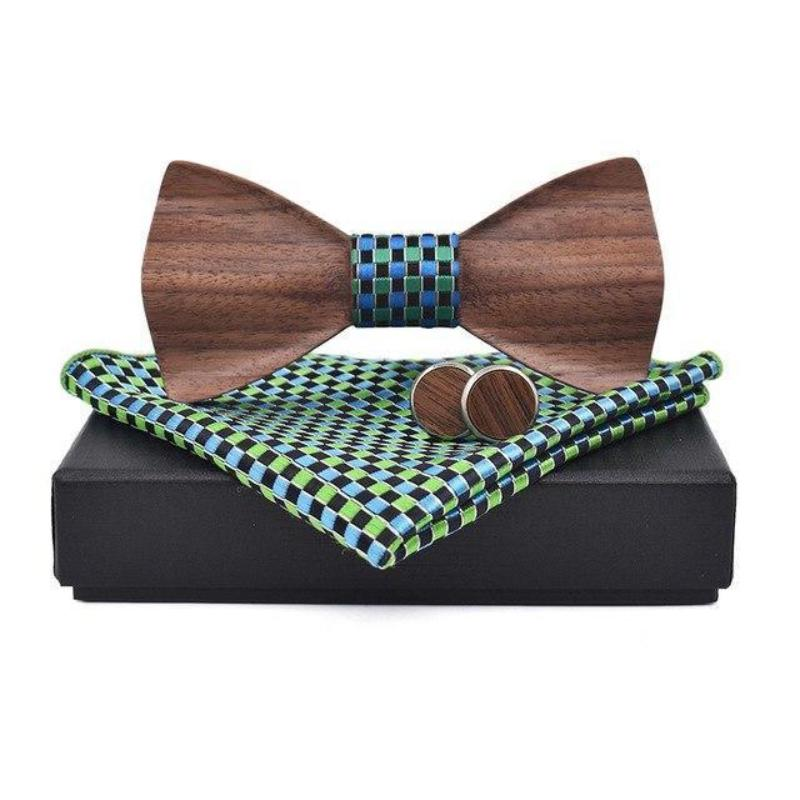 3D Wooden Bow Tie, Cuff Links and Pocket Square Set