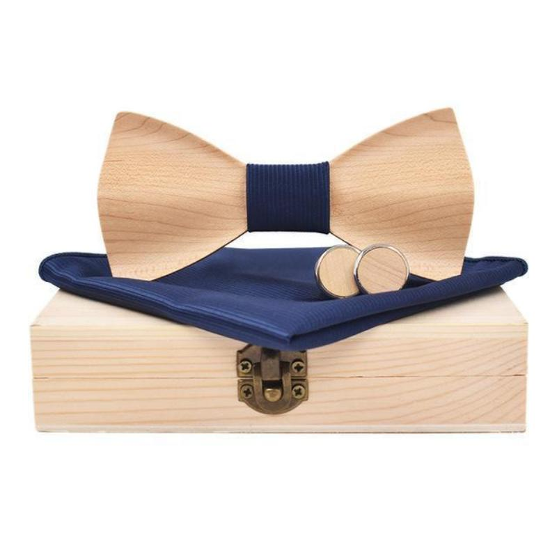 3D Maple Wood Bow Tie, Cuff Links and Pocket Square Set