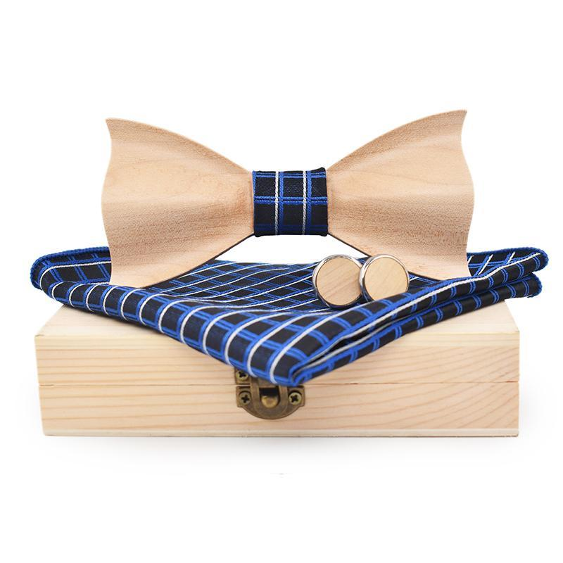3D Maple Wood Bow Tie, Cuff Links and Plaid Pocket Square Set