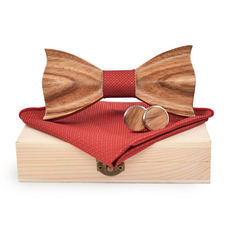 3D Zebra Wood Bow Tie, Cuff Links and Pocket Square Set
