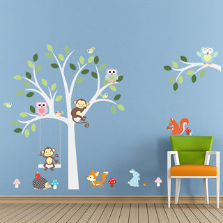 Wise Fox, Squirrel, Monkey and Owls on White Tree Wall Stickers