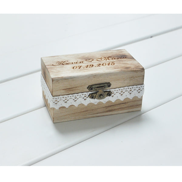 Personalized Gift Rustic Wedding Ring Bearer Box Engrave Your Names and Date