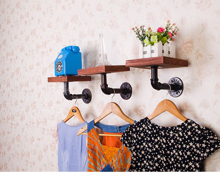 Rustic Iron Pipe Wall Mount Wooden Board Floating Shelving