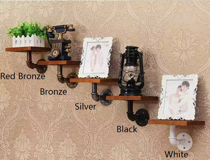 Rustic Iron and Wood Floating Shelving