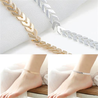 Gold Silver Fishbone Chain Anklets