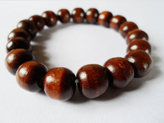 Natural Dark Wood Beads Bracelet Gift