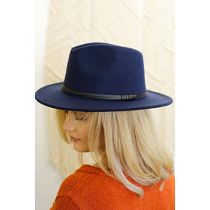 Wool Double Leather Ribbon Fedora - Navy