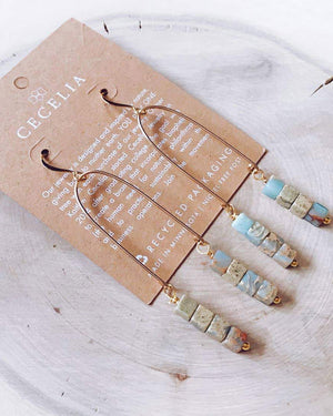 Serpentine Turquoise Gold Filled Geometric Earrings