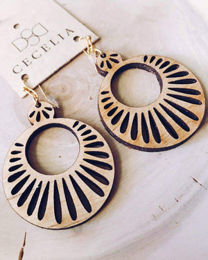 Sunburst Tiered Wooden Earrings