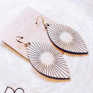 Wood Earrings - Sunline Feather