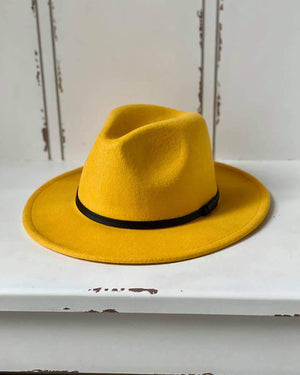 Wool Double Leather Ribbon Fedora - Mustard