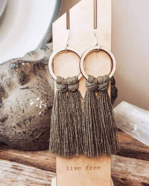 Olive Fringed Hoops