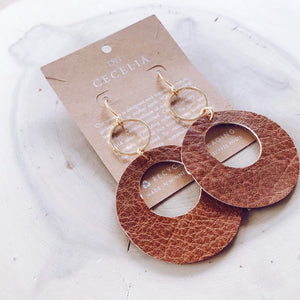 Viti Leather Earrings - Natural Brown