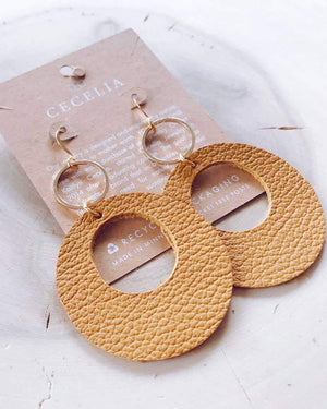 Viti Leather Earrings - Mustard