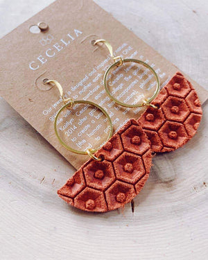 Rust Geometric Leather Earrings