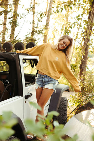 Wild Three Tree Ladies Crop Pullover- Mustard
