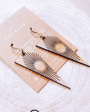 Sunline Triangle Wood Earrings