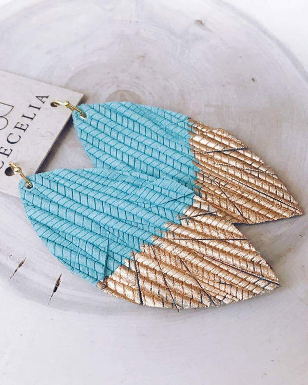 Seafoam Painted Feather Earrings