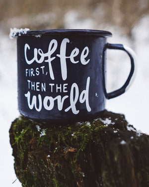 Coffee First Enamel Camp Mug