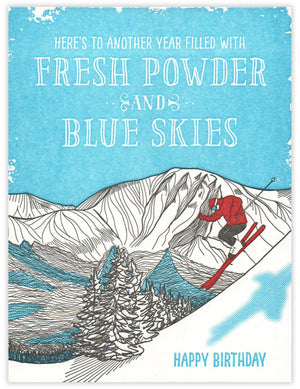 Fresh Powder Birthday Card