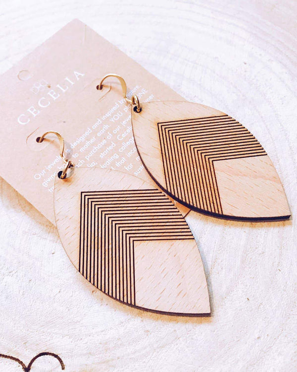 Chevron Feather Wood Earrings