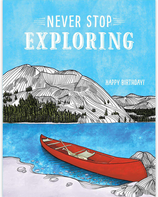 Never Stop Exploring Canoe Card