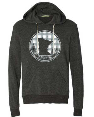 MN Plaid With Trees Hoodie